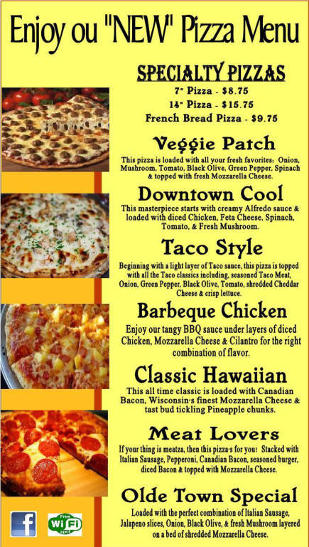 Olde Town Pizza Menu
